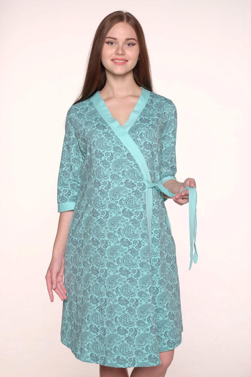Комплект одежды для беременных и кормящих Hunny Mammy: халат, сорочка ночная, цвет: бирюзовый, серый. 1-НМК 08520. Размер 50