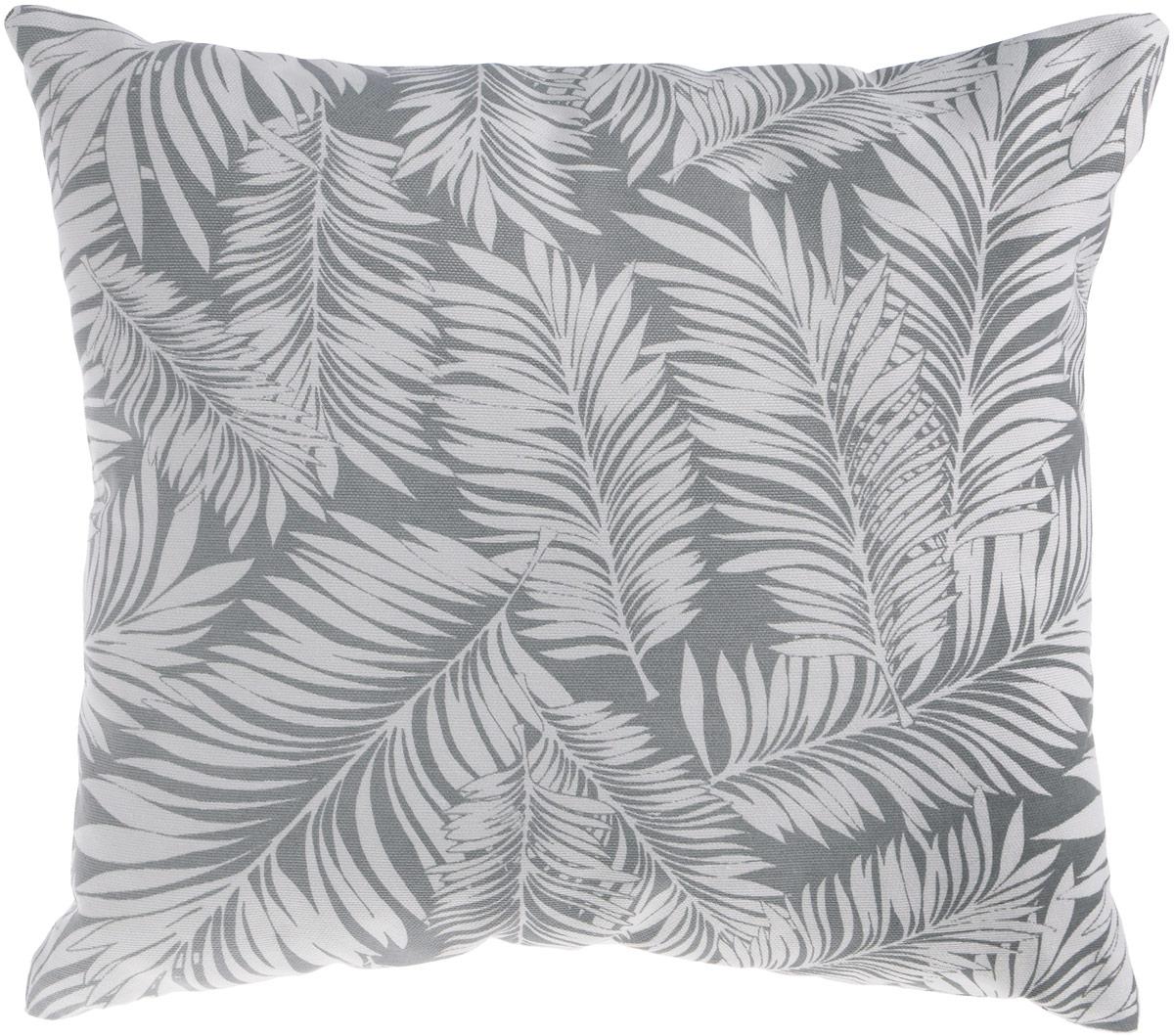 Подушка декоративная KauffOrt Пальма, цвет: серый, 40 x 40 см3122482140Декоративная подушка Пальма прекрасно дополнит интерьер спальни или гостиной. Очень нежный на ощупь чехол подушки выполнен из 75% хлопка и 25% полиэстера. Внутри находится мягкий наполнитель. Чехол легко снимается благодаря потайной молнии. Красивая подушка создаст атмосферу уюта и комфорта в спальне и станет прекрасным элементом декора.
