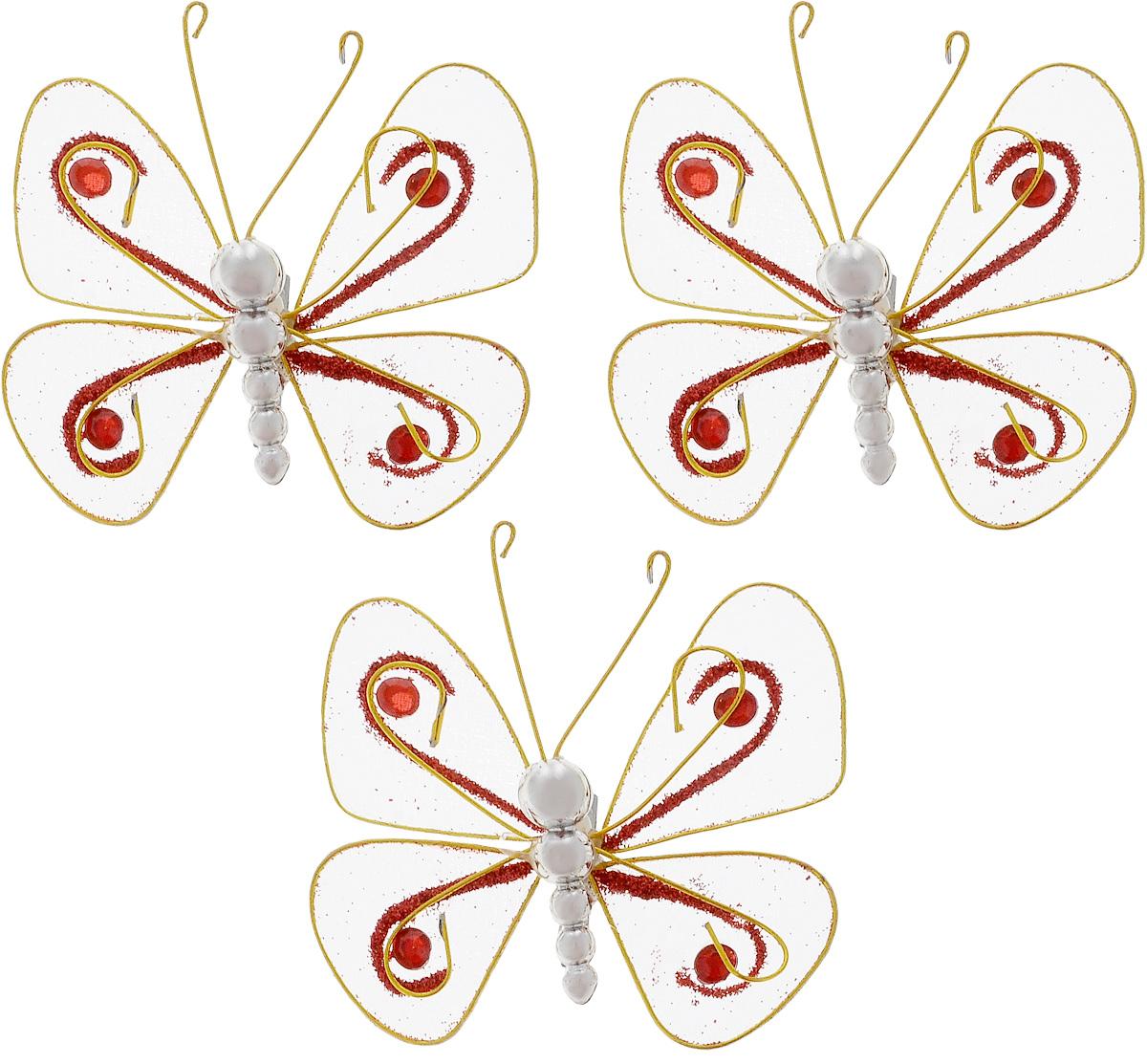 Набор новогодних подвесных украшений House & Holder Бабочки, 3 шт. G6347/8GG6347/8GНабор подвесных украшений House & Holder Бабочки прекрасно подойдет для праздничного декора новогодней ели. Набор состоит из 3 пластиковых украшений в виде бабочек. Для удобного размещения на елке для каждого украшения предусмотрено крепление. Елочная игрушка - символ Нового года. Она несет в себе волшебство и красоту праздника. Создайте в своем доме атмосферу веселья и радости, украшая новогоднюю елку нарядными игрушками, которые будут из года в год накапливать теплоту воспоминаний. Откройте для себя удивительный мир сказок и грез. Почувствуйте волшебные минуты ожидания праздника, создайте новогоднее настроение вашим дорогим и близким.Размер: 7,5 х 7,5 х 1,5 см.