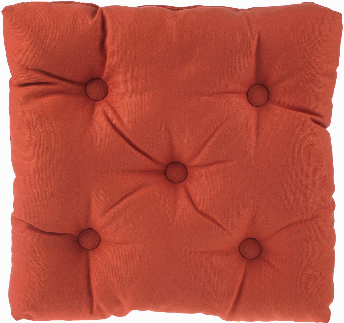 Подушка на стул KauffOrt Комо, цвет: темно-оранжевый, 40 x 40 см3121050130Подушка на стул KauffOrt Комо не только красиво дополнит интерьер кухни, но и обеспечит комфорт при сидении. Чехол выполнен из хлопка, а наполнитель из холлофайбера. Подушка легко крепится на стул с помощью завязок. Правильно сидеть - значит сохранить здоровье на долгие годы. Жесткие сидения подвергают наше здоровье опасности. Подушка с мягким наполнителем поможет предотвратить большинство нежелательных последствий сидячего образа жизни.Толщина подушки: 10 см.