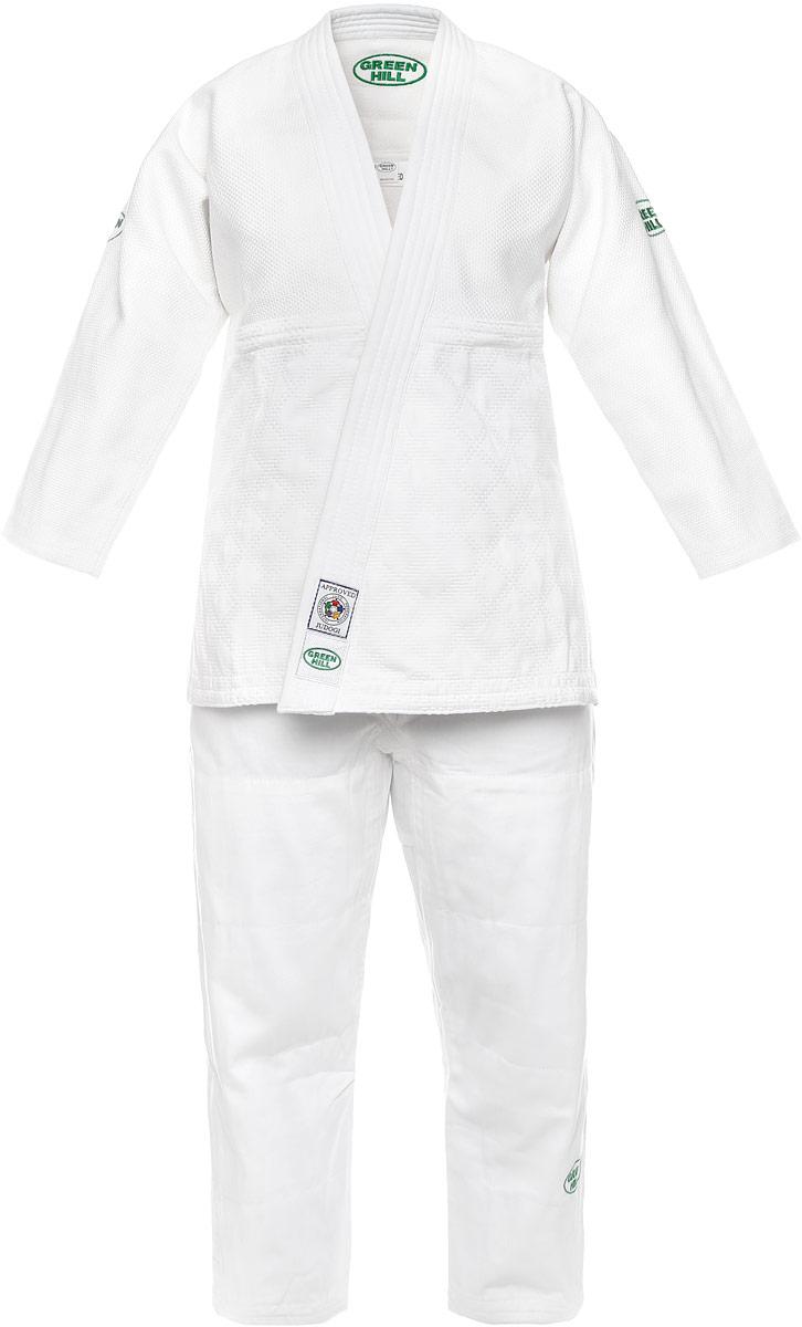 Кимоно для дзюдо Green Hill Olimpic, цвет: белый. JSO-10304. Размер 3/160JSO-10304Кимоно для дзюдо Green Hill Olimpic состоит из рубашки и брюк. Просторная рубашка с глубоким запахом, с боковыми разрезами и рукавом три четверти. Боковые швы и края полочек укреплены дополнительными строчками. Просторные брюки особого покроя на широком поясе со шнурком для фиксации брюк на талии. Комплект изготовлен из натурального хлопка, плотностью 950 г/м2.