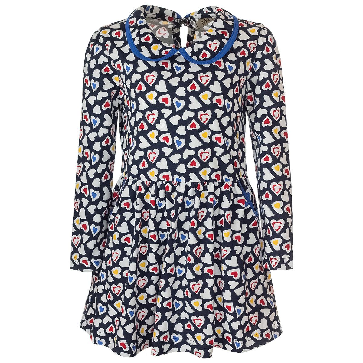 Платье для девочки M&D, цвет: темно-синий, белый, желтый, красный. WJD26044М-22. Размер 110WJD26044М-22Платье для девочки выполнено из натурального хлопка, застегивается на спинке при помощи пуговицы. Модель с отложным воротником и длинными рукавами дополнена двумя втачными карманами.