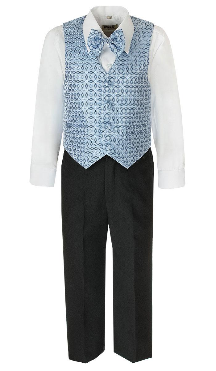 Костюм для мальчика M&D, цвет: голубой, черный, белый. HWI170071-10. Размер 98HWI170071-10Костюм для мальчика M&D изготовлен из полиэстера с добавлением модала и хлопка. Костюм включает в себя рубашку, брюки, жилет и галстук-бабочку. Рубашка с отложным воротником и длинными рукавами застегивается на пуговицы. Манжеты рукавов оснащены застежками-пуговицами. На груди расположен накладной карман. Брюки классического кроя и стандартной посадки застегиваются на пуговицу в поясе и ширинку на застежке-молнии. На поясе имеются шлевки для ремня. Пояс по бокам присборен на резинки. Брюки дополнены втачными карманами. Жилет с V-образным вырезом горловины застегивается на пуговицы. Спереди расположены два прорезных кармана. Галстук-бабочка оснащен эластичной резинкой. Жилет и галстук-бабочка оформлены оригинальным принтом.