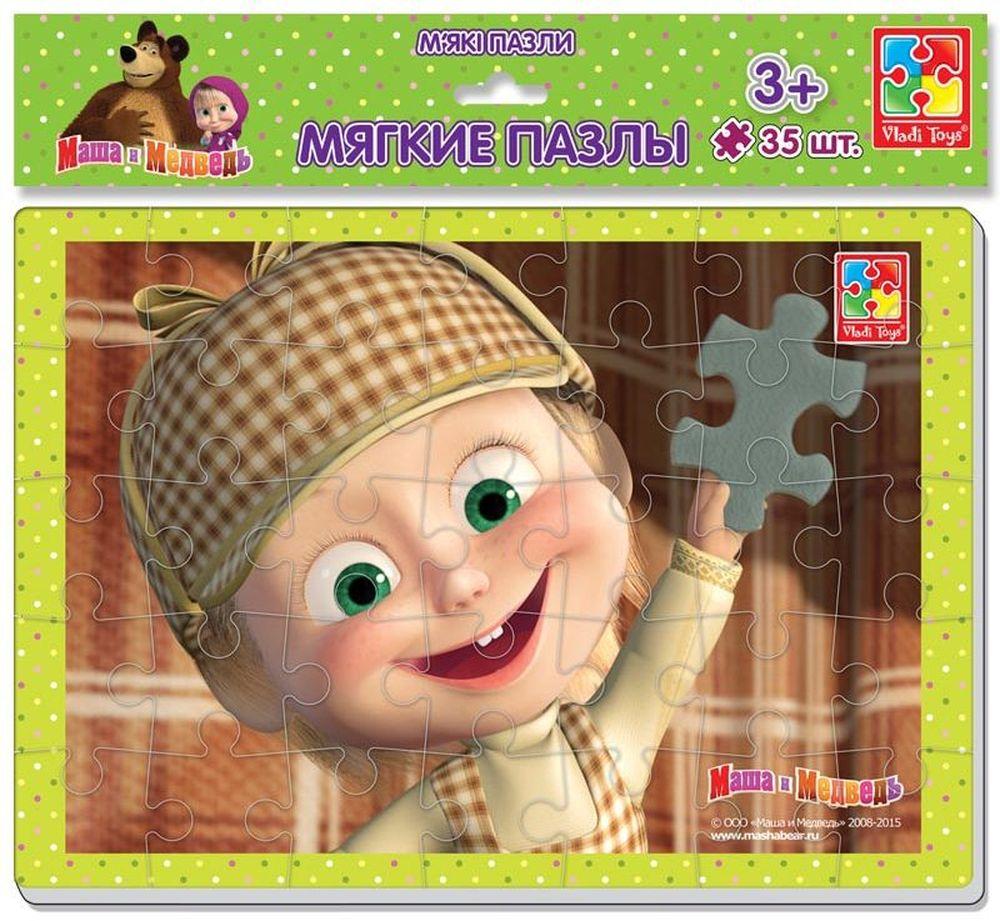 Vladi Toys Мягкие пазлы Маша и Медведь Шерлок Холмс А4 35 элементов vladi toys пазл для малышей ягоды фрукты 4 в 1
