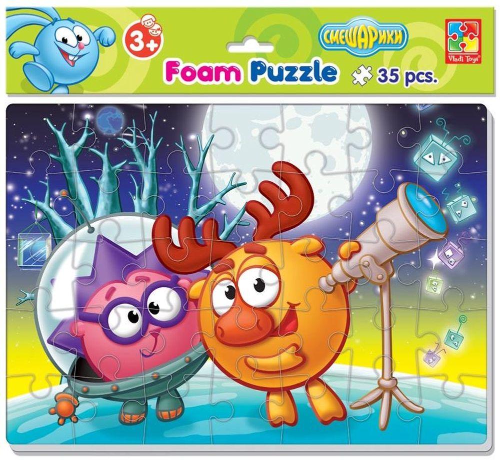 Vladi Toys Мягкие пазлы Смешарики Ежик и Лосяш А4 35 элементов vladi toys пазл для малышей ягоды фрукты 4 в 1