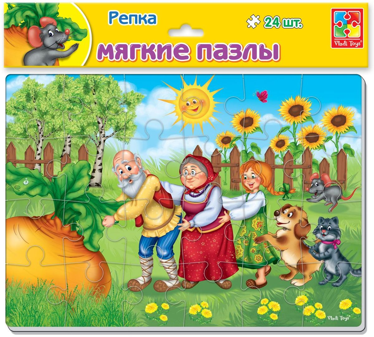 Vladi Toys Мягкие пазлы Сказки Репка А4 24 элемента пазлы бомик пазлы книжка репка