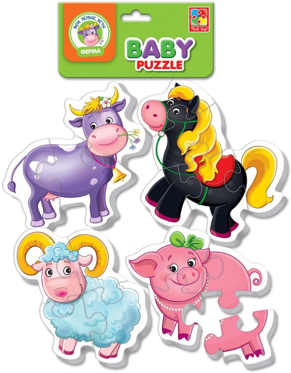 Vladi Toys Мягкие пазлы Baby puzzle Ферма vladi toys пазл для малышей ягоды фрукты 4 в 1