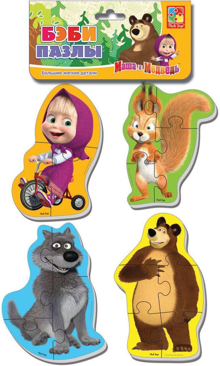 Vladi Toys Мягкие пазлы Baby puzzle Маша и Медведь Белка и волк пазлы vladi toys пазлы мягкие baby puzzle сказки репка