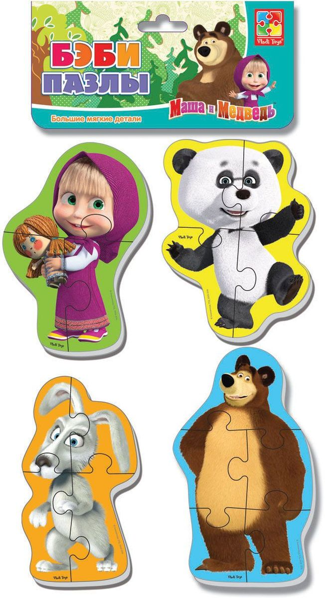 Vladi Toys Мягкие пазлы Baby puzzle Маша и Медведь Панда и заяц vladi toys мягкие пазлы baby puzzle сказки репка