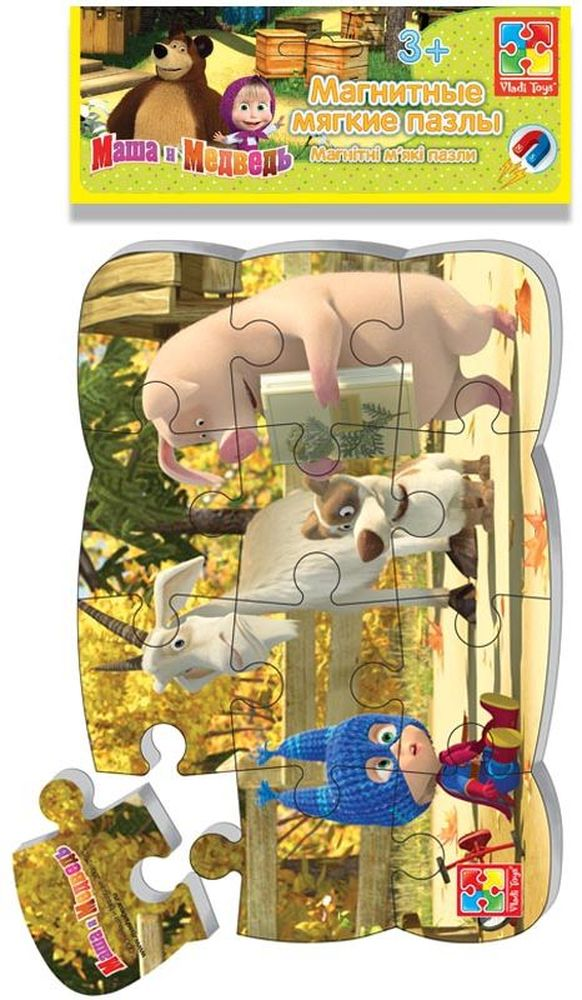 Vladi Toys Пазлы на магните Маша и Медведь Маша супер-герой пазлы бомик пазлы книжка репка