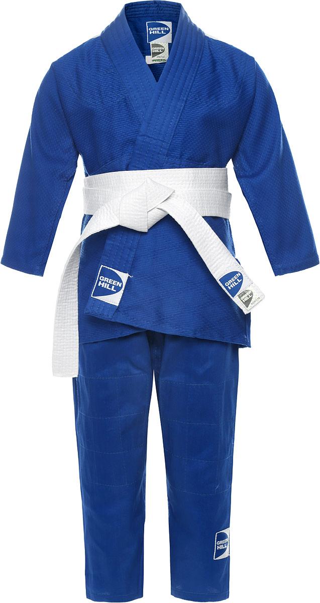 Кимоно детское для дзюдо Green Hill Kids, цвет: синий. JSK-10465/JSK-10400. Размер 000/100JSK-10465/JSK-10400Кимоно для карате Green Hill Kids состоит из рубашки, брюк и пояса. Просторная рубашка с запахом и рукавом три четверти. Двойные швы на плечах, груди, рукавах обеспечивают дополнительную прочность куртки. Просторные брюки на широком поясе со шнурком для фиксации брюк на талии. Вставки в пройме, в районе колен брюк обеспечивают их дополнительную прочность. Длинный плотный пояс укреплен многорядной прострочкой. Комплект изготовлен из натурального хлопка, плотностью 226 г/м2.