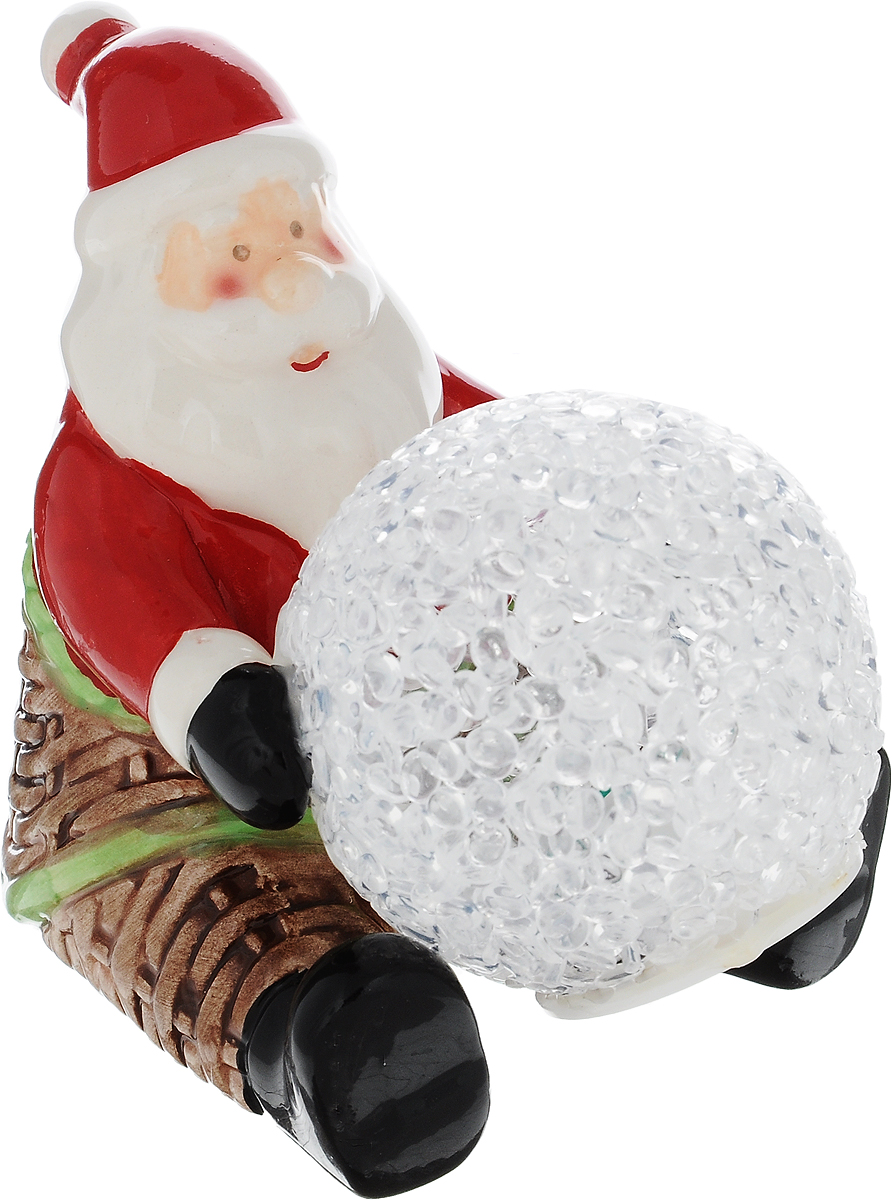 Фигурка декоративная House & Holder Дед Мороз с шаром, с подсветкой, высота 8,5 см игровые фигурки maxitoys фигура дед мороз в плетеном кресле музыкальный