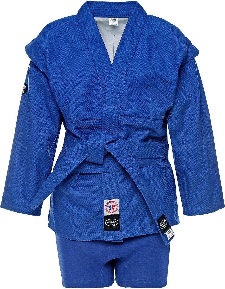 Комплект для самбо Green Hill: куртка, трусы, цвет: синий. SSJ-10355. Размер 2/150