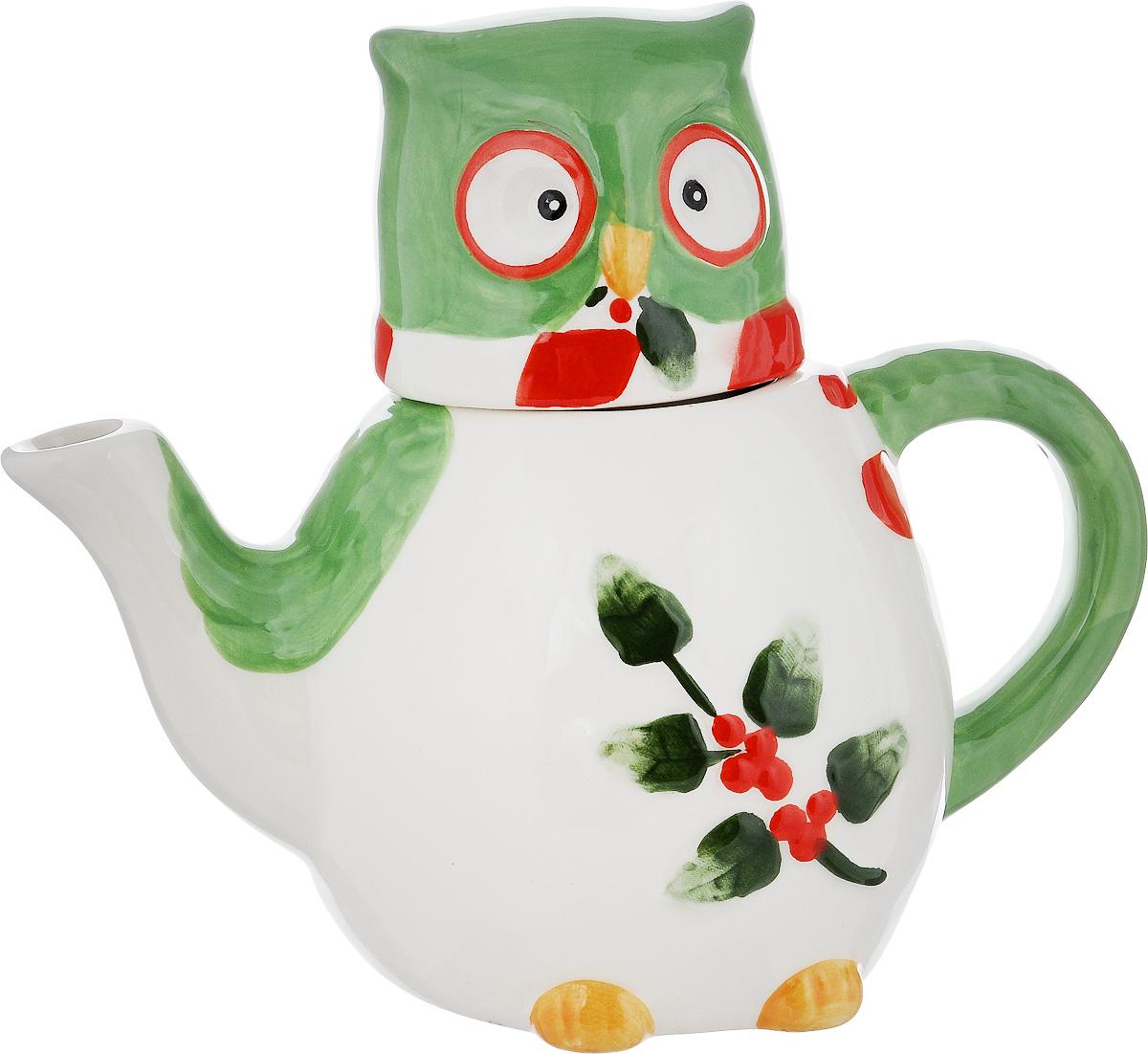 Чайник заварочный House & Holder Сова, цвет: белый, зеленый 610 млDP-B63-131957B/EЗаварочный чайник House & Holder Сова выполнен извысококачественной керамики и покрытсверкающей глазурью. Изделие оформлено ярким рисунком и оснащенокрышкой.Заварочный чайник House & Holder Сова придется повкусу иценителям классики, и тем, кто предпочитаетутонченность иизысканность. Диаметр (по верхнему краю): 6 см.Высота чайника (без учета крышки): 10,5 см. Высота чайника (с учетом крышки): 17 см.