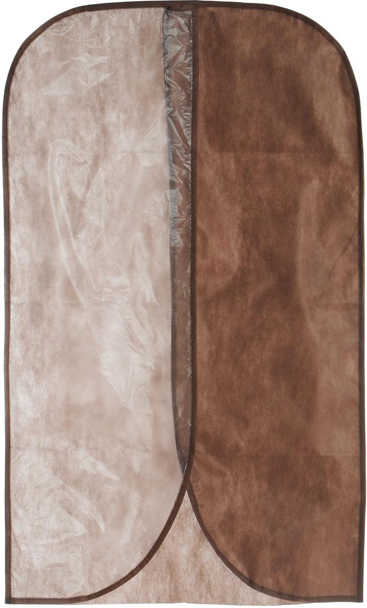 """Чехол для одежды """"Eva"""" изготовлен из высококачественного нетканого материала. Особое строение полотна создает естественную вентиляцию: материал """"дышит"""" и позволяет воздуху свободно проникать внутрь чехла, не пропуская пыль. Это особенно необходимо для меховой, кожаной и шерстяной одежды. Благодаря форме чехла, одежда не мнется даже при длительном хранении. Чехол удобен для одежды разной длинны. Для удобства изделие имеет прозрачную половину. Чехол для одежды будет очень полезен при транспортировке вещей на близкие и дальние расстояния, при длительном хранении сезонной одежды, а также при ежедневном хранении вещей из деликатных тканей. Чехол для одежды не только защитит ваши вещи от пыли и влаги, но и поможет доставить одежду на любое мероприятие в идеальном состоянии.Размер чехла: 60 х 100 см."""