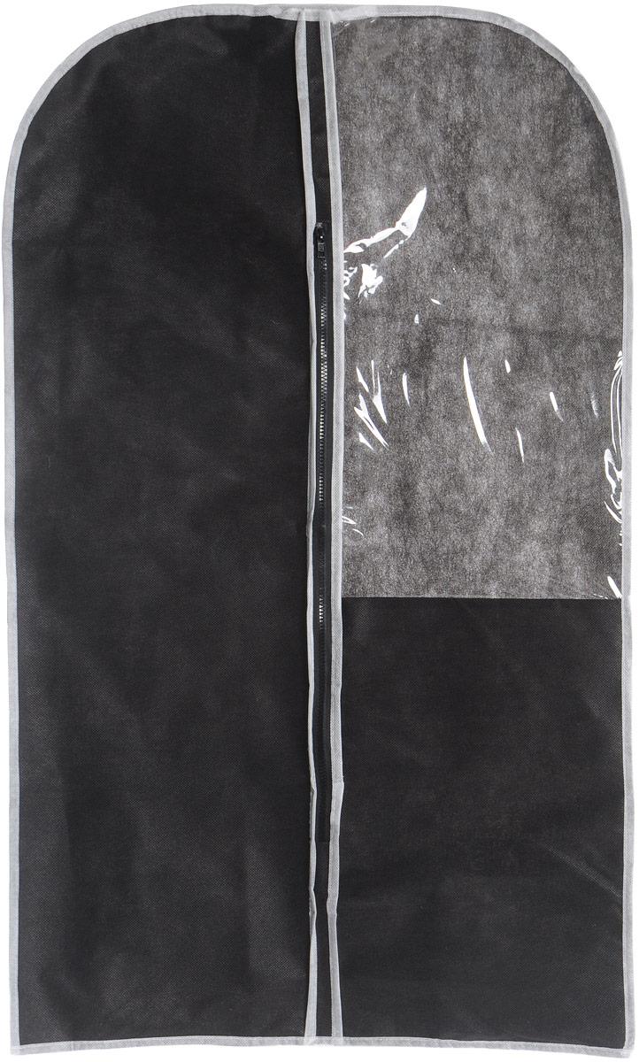 Чехол для одежды Eva, с прозрачной вставкой, цвет: черный, белый, 60 х 100 смЕ1603Чехол для одежды Eva изготовлен из высококачественного нетканого материала. Особое строение полотна создает естественную вентиляцию: материал дышит и позволяет воздуху свободно проникать внутрь чехла, не пропуская пыль. Это особенно необходимо для меховой, кожаной и шерстяной одежды. Благодаря форме чехла, одежда не мнется даже при длительном хранении. Чехол застегивается на молнию. Для удобства изделие имеет прозрачное окошко. Чехол для одежды будет очень полезен при транспортировке вещей на близкие и дальние расстояния, при длительном хранении сезонной одежды, а также при ежедневном хранении вещей из деликатных тканей. Чехол для одежды не только защитит ваши вещи от пыли и влаги, но и поможет доставить одежду на любое мероприятие в идеальном состоянии.Размер чехла: 60 х 100 см.