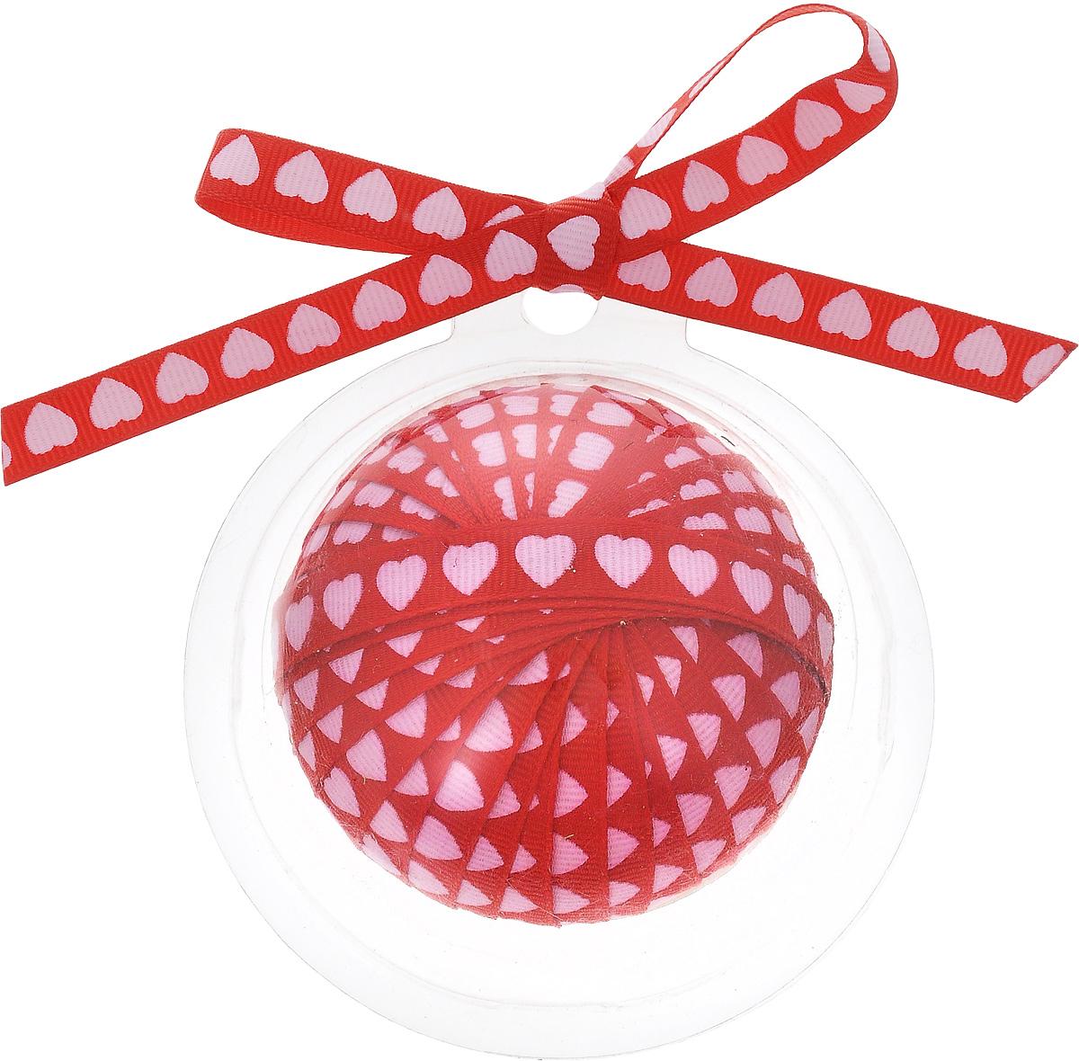 Лента новогодняя Winter Wings, цвет: красный, светло-розовый, 1 см х 3 м лента декоративная brunnen цвет золото 1 5 х 300 см