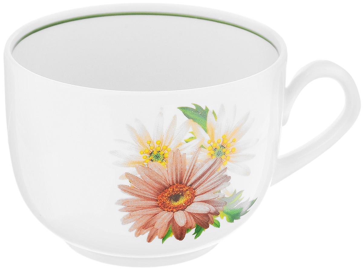Чашка чайная Фарфор Вербилок Август. Розовые герберы, 300 мл салатник фарфор вербилок 360 мл 6970000б