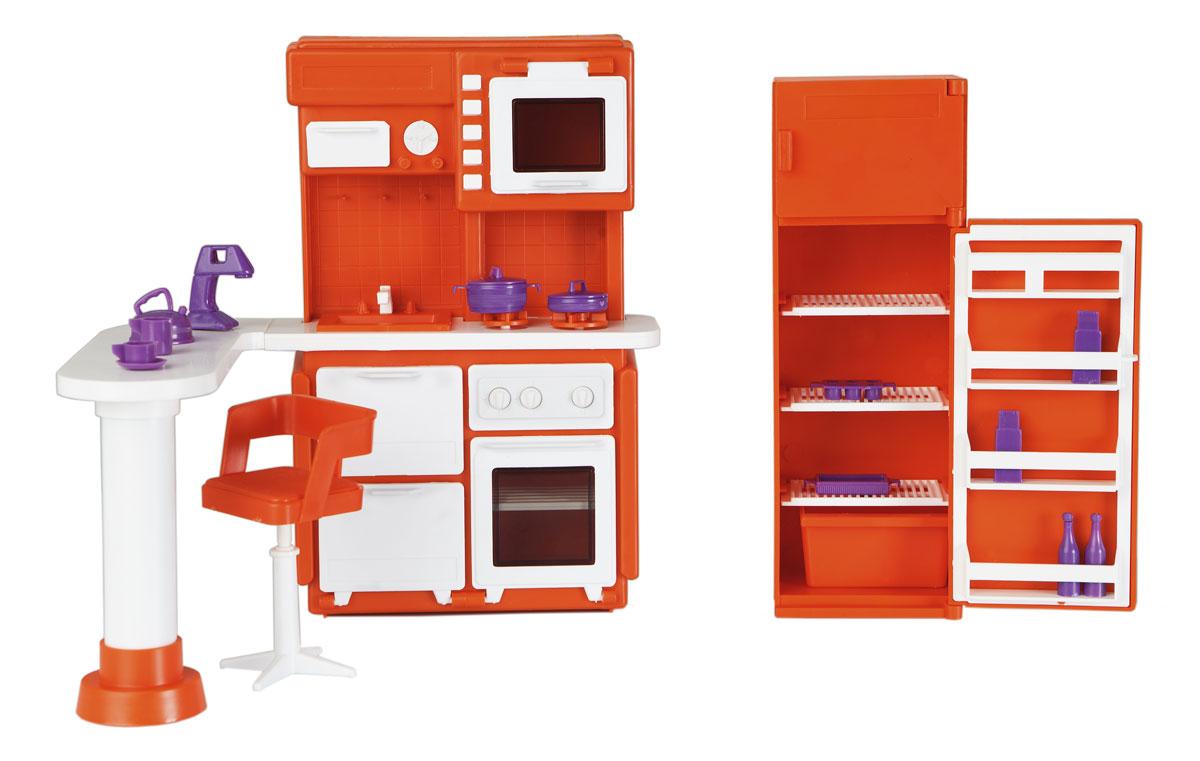 Огонек Набор мебели для кукол Кухня Конфетти цвет оранжевый кукол домик