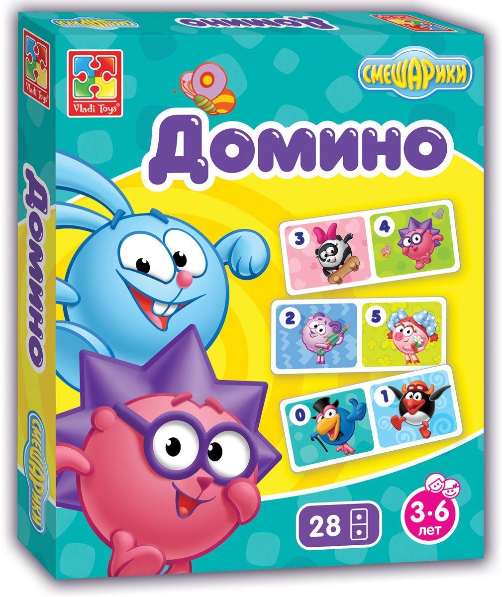 Vladi Toys Игра настольная Смешарики Домино vladi toys развивающая игра 3 в 1 ежик в лесу