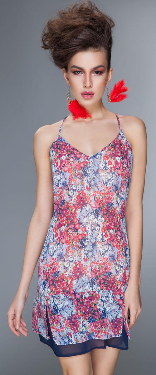 Фото Сорочка ночная женская Barbara Bettoni Palermo, цвет: красный, синий. BB131. Размер M (46)