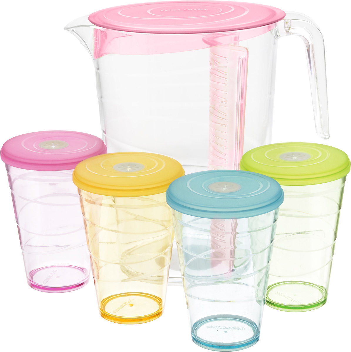 Набор питьевой Tescoma My Drink, цвет: розовый, 9 предметов308802.19Набор питьевой Tescoma My Drink - великолепноерешение для летних прохладительных напитков! Наборсостоит из кувшина и 4 стаканов. Для изготовления кувшина истаканов используется первоклассный нетоксичный пластик,пригодный для долгосрочного контакта с пищевымипродуктами и не содержащий химических добавок. Кувшин оснащен специальной перегородкой для фруктов илистьев мяты, которая позволяет не допускать смешивания сосновной жидкостью в кувшине. Это избавит вас отдополнительной фильтрации лимонада. Перегородку удобноснимать и чистить. В комплект входят 4 стакана разного цвета, каждый из которыхоснащен крышкой с гибким отверстием для соломинки. Можно мыть в посудомоечной машине на щадящихпрограммах, выдерживает температуру до 60°С. Размер кувшина (по верхнему краю): 12 х 18 см. Высота кувшина: 23 см. Объем кувшина: 2,5 л. Диаметр стакана (по верхнему краю): 8,5 см. Высота стакана: 12 см. Объем стакана: 400 мл.