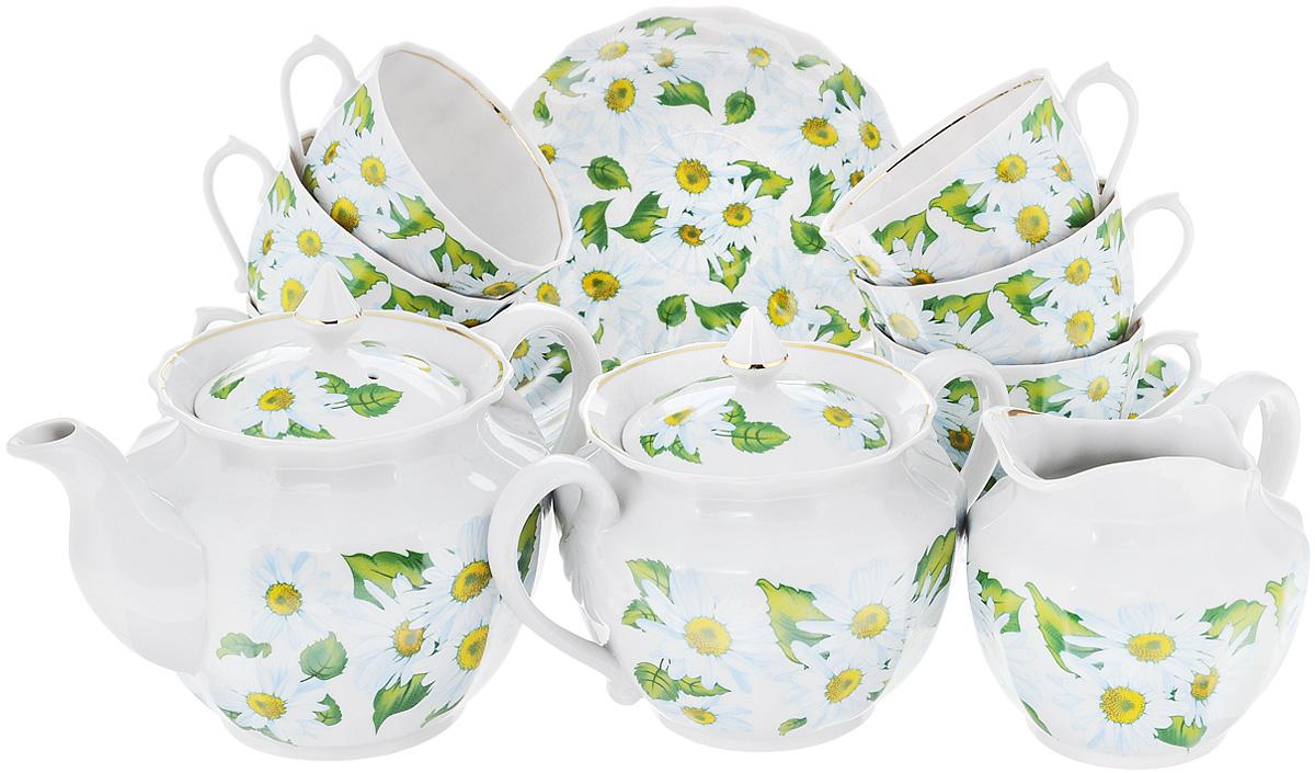 Сервиз чайный Фарфор Вербилок Любит - не любит, 15 предметов3522000Чайный сервиз Фарфор Вербилок Любит - не любит состоит из 6 чашек, 6 блюдец, сахарницы, заварочного чайника и сливочника. Изделия выполнены из высококачественного фарфора и оформлены красивым рисунком с изображением ромашек. Изящный чайный сервиз прекрасно оформит стол к чаепитию и порадует вас элегантным дизайном и качеством исполнения.Объем чайника: 600 мл.Высота чайника (без учета крышки): 11 см.Диаметр чайника (по верхнему краю): 10,5 см.Высота сахарницы (без учета крышки): 8 см.Диаметр сахарницы (по верхнему краю): 10,5 см.Объем сахарницы: 600 мл.Объем сливочника: 350 мл.Размер сливочника (по верхнему краю): 9 х 7 см. Высота сливочника: 10 см.Объем чашки: 200 мл.Диаметр чашки (по верхнему краю): 8,5 см.Высота чашки: 6 см.Диаметр блюдца: 14,5 см.Высота блюдца: 2,5 см.