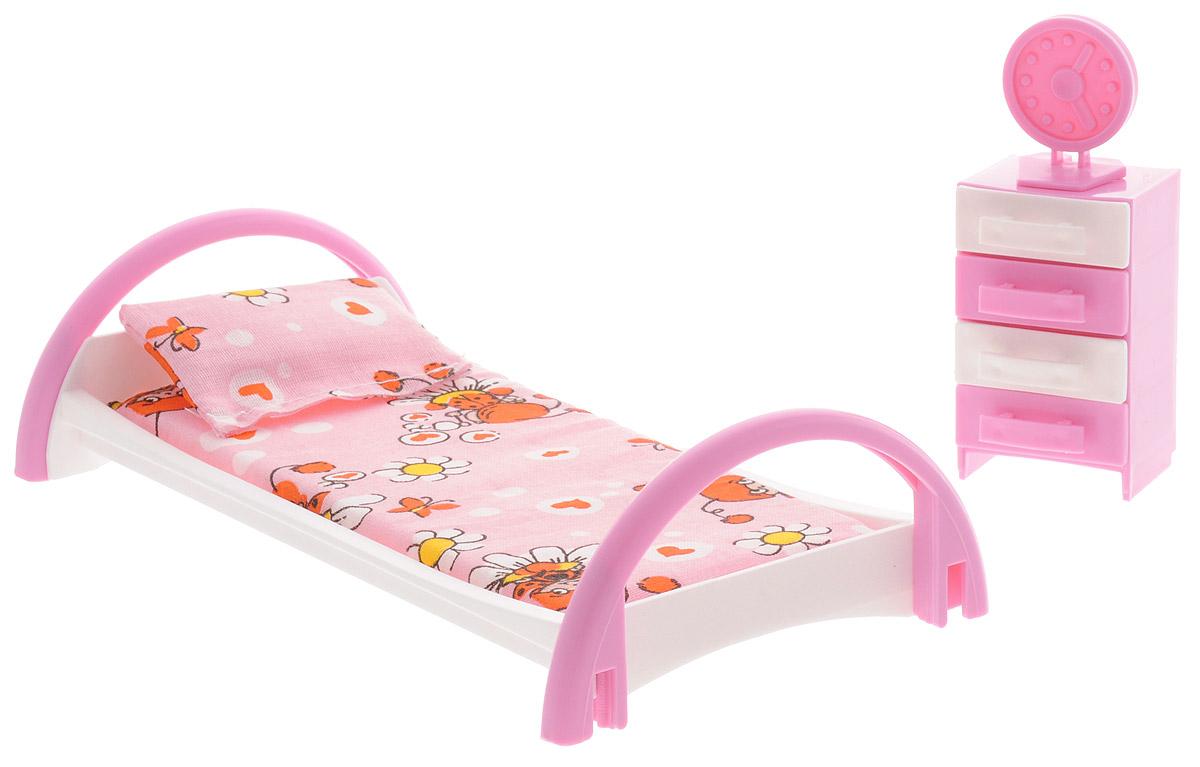 Форма Набор мебели для кукол Кровать с тумбочкой цвет розовый как паралон для мебели в уфе