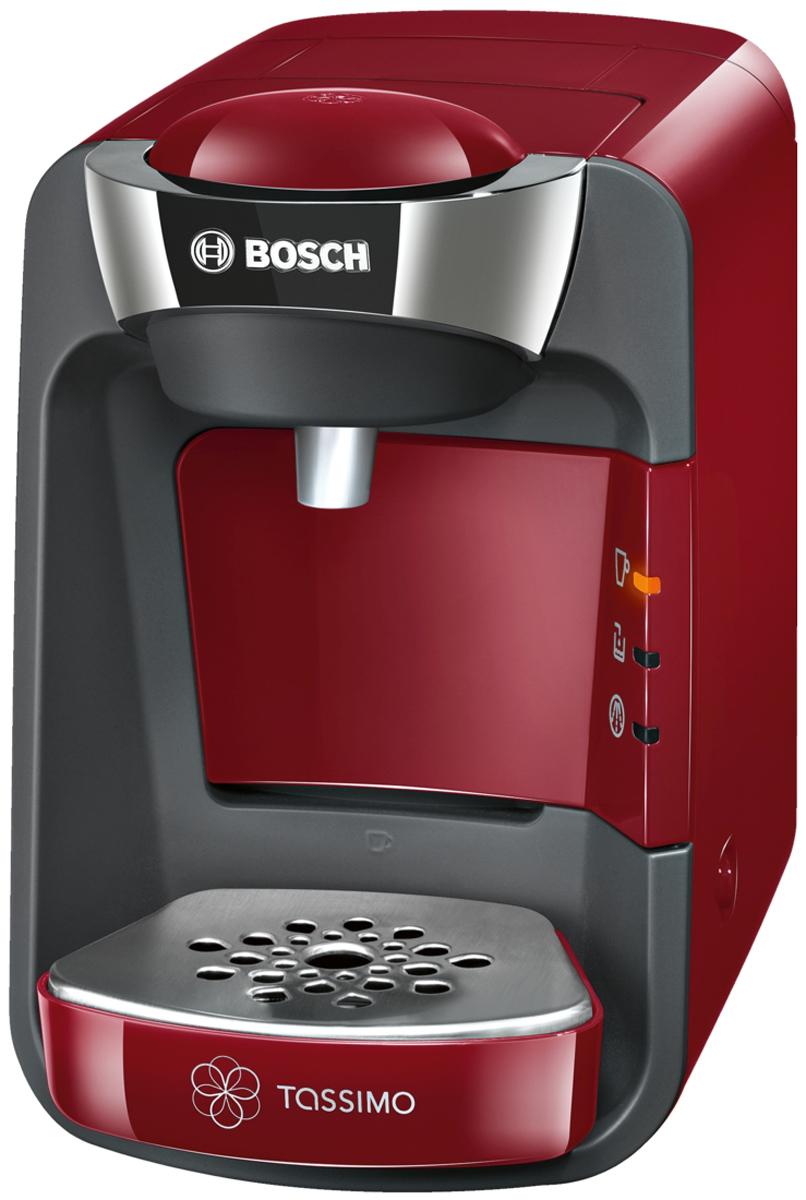 Bosch TAS3203, Red кофеваркаTAS3203Когда ваши любимые напитки нужно приготовить быстро, Bosch TAS3203 - неизменно правильный выбор. Достаточно вставить Т-диск, прижать чашку к кнопке Smart Start и просто наблюдать, как Bosch TAS3203 всего за несколько минут приготовит кофе, чай, шоколад и другие напитки самых разных сортов. Благодаря элегантному дизайну и компактным размерам Bosch TAS3203 станет стильным дополнением вашего дома и будет готовить изысканные напитки почти мгновенно, радуя вас и ваших гостей.Кофемашина Bosch TAS3203 считывает штрих-код, нанесенный на каждую капсулу (Т-диск) и автоматически определяет точную информацию для приготовления идеального напитка: количество воды, время заваривания, температура. Достаточно взять T-диск, вставить в блок заваривания и нажать на кнопку. Напиток готов.Bosch TAS3203 имеет проточный водонагреватель, который обеспечивает быструю готовность к работе, оптимальный режим приготовления выбранного напитка, а также являются энергоэкономичными.Резервуар для воды легко снять и наполнить. Он вмещает до 0,8 л воды. Кофемашина Bosch TAS3203 оснащена программой автоматической очистки и удаления накипи, а также автоматически отключается после цикла заваривания.