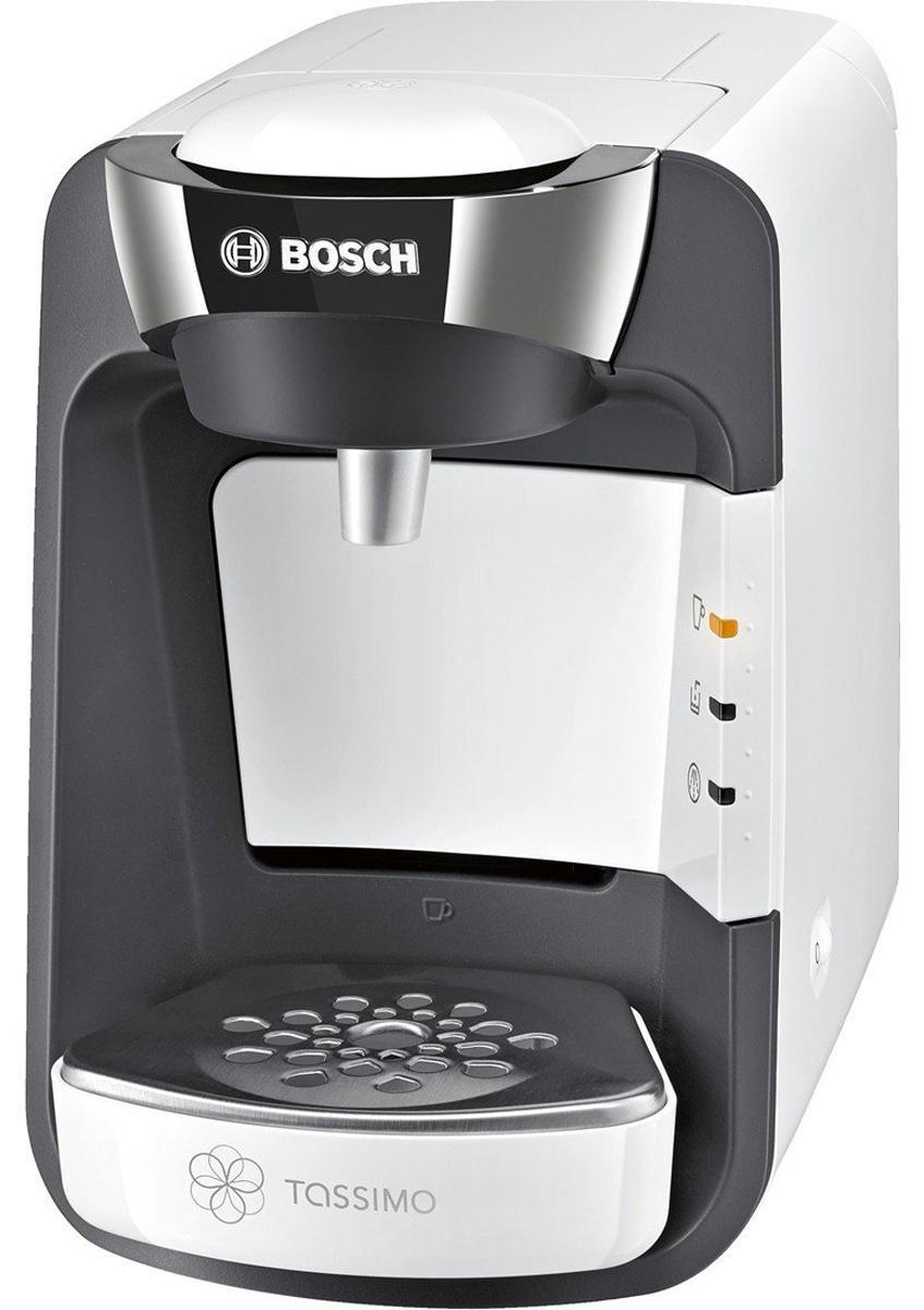 Bosch TAS3204, White кофеваркаTAS3204Когда ваши любимые напитки нужно приготовить быстро, Bosch TAS3204 — неизменно правильный выбор. Достаточно вставить Т-диск, прижать чашку к кнопке Smart Start и просто наблюдать, как Bosch TAS3204 всего за несколько минут приготовит кофе, чай, шоколад и другие напитки самых разных сортов. Благодаря элегантному дизайну и компактным размерам Bosch TAS3204 станет стильным дополнением вашего дома и будет готовить изысканные напитки почти мгновенно, радуя вас и ваших гостей.Кофемашина Bosch TAS3204 считывает штрих-код, нанесенный на каждую капсулу (Т-диск) и автоматически определяет точную информацию для приготовления идеального напитка: количество воды, время заваривания, температура. Достаточно взять T-диск, вставить в блок заваривания и нажать на кнопку. Напиток готов.Bosch TAS3204 имеет проточный водонагреватель, который обеспечивает быструю готовность к работе, оптимальный режим приготовления выбранного напитка, а также являются энергоэкономичными.Резервуар для воды легко снять и наполнить. Он вмещает до 0,8 л воды. Кофемашина Bosch TAS3204 оснащена программой автоматической очистки и удаления накипи, а также автоматически отключается после цикла заваривания.