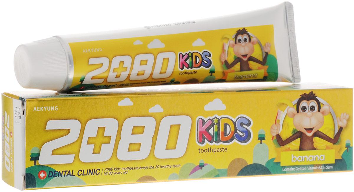 Dental Clinic 2080 Зубная паста Детская Банан 80г8801046241912Cпециально разработанная формула для ухода за детскими зубами. Ксилит предотвращает появление кариеса, фтор и кальций укрепляют эмаль, витамины сохраняют здоровье десен. Для детей от 2-х лет и старше. Банановый вкус.