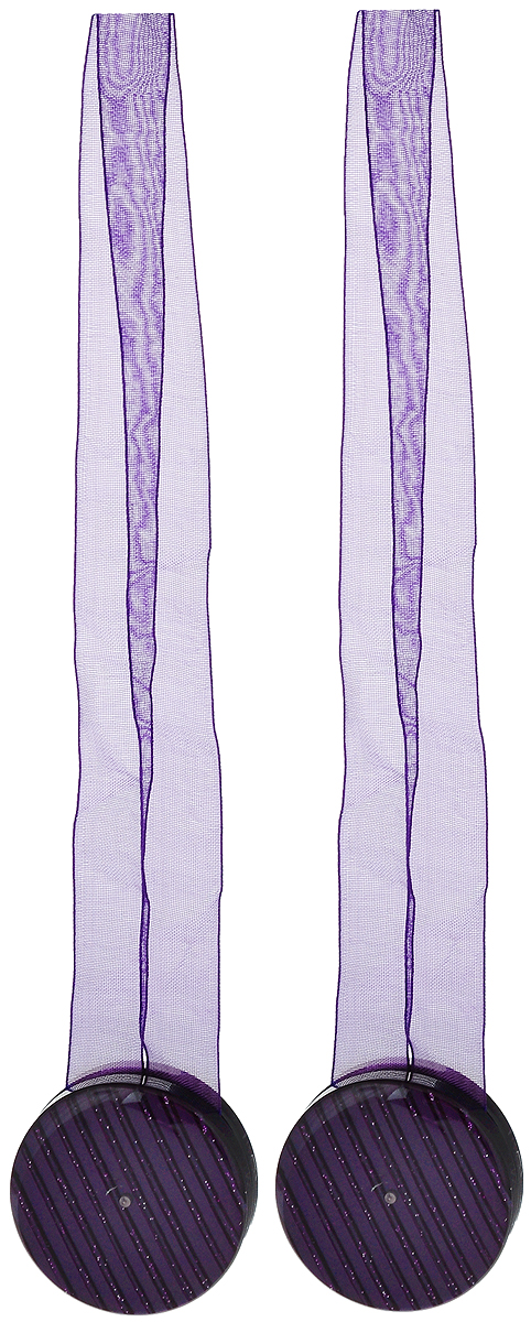 Подхват для штор TexRepublic Ajur. Lenta, на магнитах, цвет: фиолетовый, диаметр 4 см, 2 шт. 7900979009Изящный подхват для штор TexRepublic Ajur. Lenta, выполненный из пластика и текстиля, можно использовать как держатель для штор или для формирования декоративных складок на ткани. С его помощью можно зафиксировать шторы или скрепить их, придать им требуемое положение, сделать симметричные складки. Благодаря магнитам подхват легко надевается и снимается. Подхват для штор является универсальным изделием, которое превосходно подойдет для любых видов штор. Подхваты придадут шторам восхитительный,стильный внешний вид и добавят уют в интерьер помещения. Длина подхвата: 36 см. Диаметр: 4 см. Количество: 2 шт.
