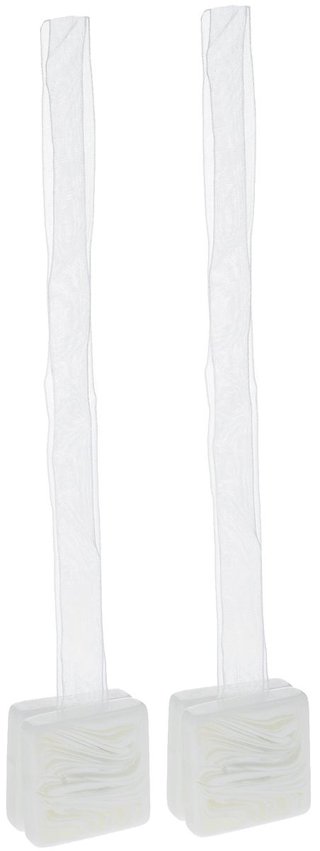 Подхват для штор TexRepublic Ajur. Lenta, на магнитах, цвет: белый, 2 шт. 79026 карнизы и аксессуары для штор ajur подхват для штор магнитный abott цвет белый