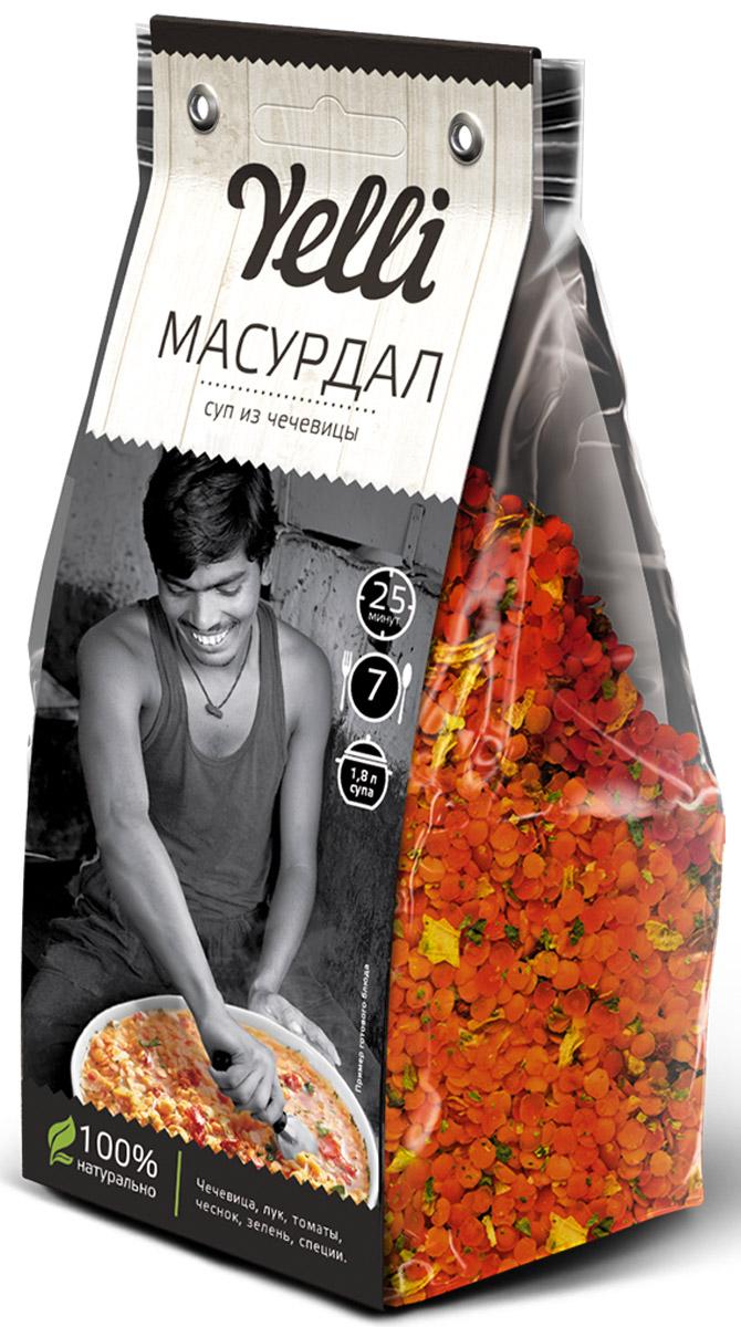 Yelli Масурдал суп из чечевицы, 250 гЕЛ 123/7Масурдал - густой, слегка острый индийский суп из чечевицы с зеленью. Дал — это традиционный индийский густой бобовый суп, популярное среди вегетарианцев всего мира. Дал — сытное и питательное блюдо, он может быть приготовлен с чечевицей, машем, нутом, фасолью. Дал с красной чечевицей называется Масурдал (Masoor Dal), обычно в его рецепт входят индийские специи и немного овощей. Красная чечевица хорошо разваривается, поэтому суп получается густым и довольно быстро готовится.