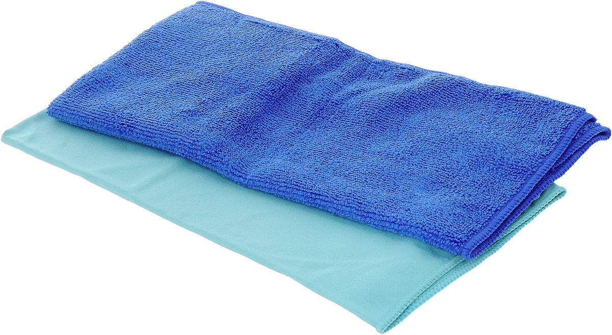 Набор салфеток для мытья и полировки автомобиля Sapfire Cleaning Сloth & Suede, цвет: голубой,синий, 35 х 40 см, 2 штSFM-3069Набор многофункциональных салфеток Sapfire Cleaning Cloth & Suede выполнен из микрофибры и искусственной замши. Каждая нить после специальной химической обработки расщепляется на 12-16 клиновидных микроволокон. Микрофибровое полотно удаляет грязь с поверхности намного эффективнее, быстрее и значительно более бережно в сравнении с обычной тканью, что существенно снижает время на проведение уборки, поскольку отсутствует необходимость протирать одно и то же место дважды. Набор обладает уникальной способностью быстро впитывать большой объем жидкости. Клиновидные микроскопические волокна захватывают и легко удерживают частички пыли, жировой и никотиновый налет, микроорганизмы, в том числе болезнетворные и вызывающие аллергию. Нежная текстура искусственной замши идеально подходит для сухой протирки деликатных поверхностей. Салфетка великолепно удаляет пыль и грязь. Протертая поверхность становится идеально чистой, сухой, блестящей, без разводов и ворсинок. Микрофибра устойчива к истиранию, ее можно быстро вернуть к первоначальному виду с помощью машинной стирки при малом количестве моющих средств. Салфетку из замши использовать только в сухом виде. Тканевую салфетку, как в сухом так и во влажном виде.Состав салфеток: полиэстер (85%), полиамид (15%).Размер салфетки: 35 х 40 см.