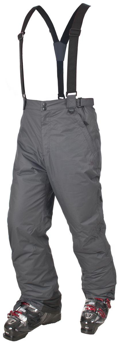 Брюки для сноуборда мужские Trespass Bezzy, цвет: серый. MABTSKF20001. Размер S (48)MABTSKF20001Мужские утепленные брюки для сноуборда Trespass Bezzy выполнены из плотного влагонепроницаемого армированного полиэстера с наполнителем из синтепона. Брюки застегиваются на ширинку на застежке-молнии и две пуговицы в поясе. Модель имеет широкую резинку на поясе сзади, объем талии регулируется при помощи двух хлястиков с липучками по бокам. Брюки дополнены двумя втачными карманами на застежках-молниях спереди и двумя втачными карманами на застежках-молниях сзади. Брючины оснащены вентиляционными отверстиями на застежках-молниях, дополненными сетчатыми вставками, а также внутренними противоснежными манжетами по низу. Обхват низа брючин регулируется при помощи клапана на липучке и застежки-молнии. В комплект входят съемные подтяжки, регулируемые по длине.