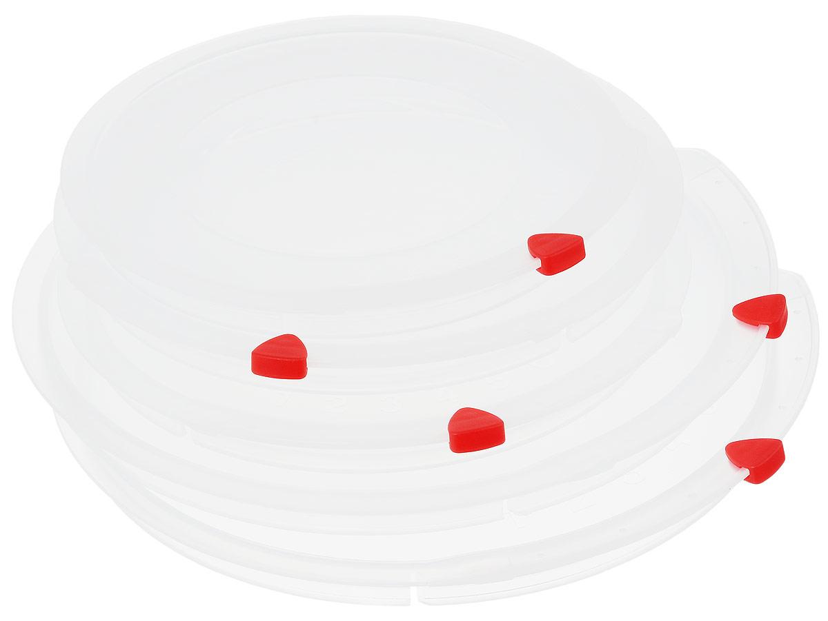 Набор крышек Tescoma Unicover, 5 шт. 782850782850Набор Tescoma Unicover состоит из пяти крышек разного размера. Предназначен для наборов посуды из нержавеющей стали Tescoma Presto, Ambition, Viva. Также можно использовать при хранении еды, для закрытия высоких кастрюль, кастрюль и ковшей из нержавеющей стали. Плоская форма крышек позволяет складывать посуду в целях экономии места в холодильнике. Пища, закрытая пластиковой крышкой, не высыхает и не впитывает запахи других продуктов питания. На крышках имеется семидневный датировщик для индикации с первого дня хранения. Изделия выполнены из пластика, предназначенного для медицинских и фармацевтических целей. Можно мыть в посудомоечной машине.Подходит для кастрюль диаметром 2 х 16 см; 2 х 20 см; 1 х 24 см.Диаметр крышек (по верхнему краю): 25,5 см; 21,5 см; 17,5 см.