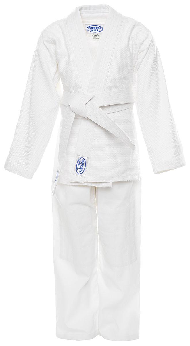 Кимоно детское для дзюдо Green Hill Club, цвет: белый. JSC-10204. Размер 120JSC-10204_детскоеДетское кимоно для дзюдо Green Hill Club, состоящее из куртки и брюк, выполнено из натурального хлопка. Просторная куртка с глубоким запахом и длинным рукавом дополнена поясом. Нижняя часть куртки по бокам дополнена разрезами. Просторные брюки особого кроя имеют эластичный пояс. Куртка усилена двойными швами на плечах, рукавах и груди.