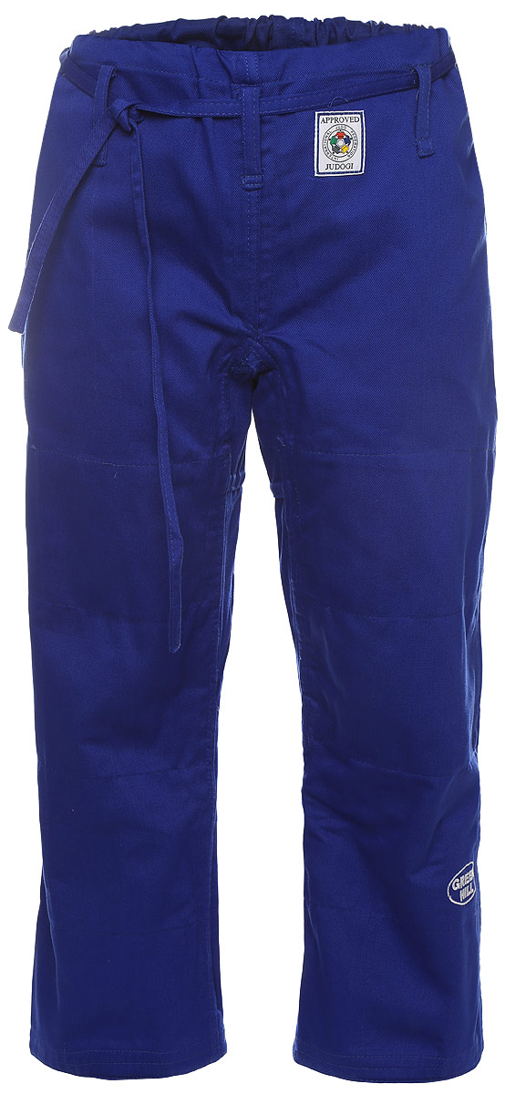 Брюки для дзюдо Green Hill Olimpic, цвет: синий. JTOI-10801. Размер 3/160JTOI-10801Просторные брюки для дзюдо Green Hill Olimpic на широком поясе и шнурком для фиксации. Изделие изготовлено из высококачественного хлопка с двойной усиливающей вставкой в области колен. Также добавленные вставки в пройме брюк обеспечивают их дополнительную прочность. Модель дополнена вышивкой с названием бренда. Плотность ткани: 600 г/м2.