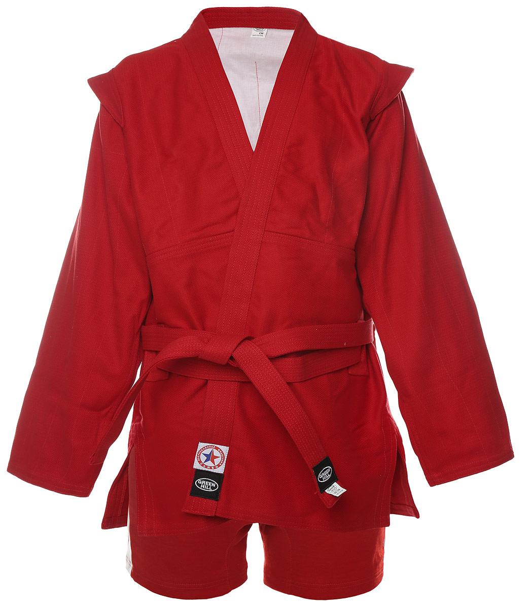 Комплект для самбо Green Hill: куртка, трусы, цвет: красный. SSJ-10355. Размер 7/200 канатрукав green hill для лазания 5 метров в спб