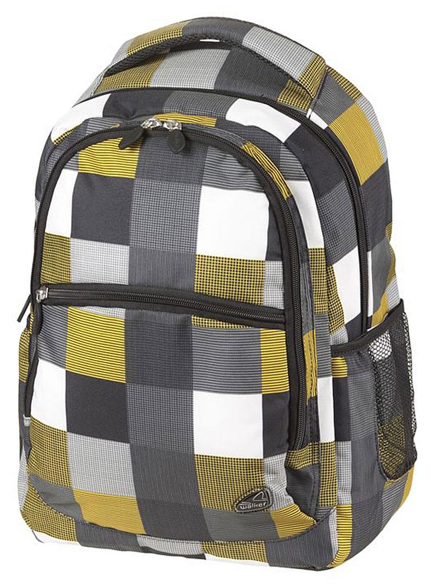 Walker Рюкзак Classic цвет черный желтый белый42264/117Рюкзак Walker Classic - это современный многофункциональный молодежный рюкзак, который выполнен из прочного износостойкого материала высокого качества. Рюкзак имеет два основных отделения, закрывающихся на молнии. Внутри основного отделения находится мягкий карман на хлястике с липучкой для планшета или ноутбука и пришитый кармашек на молнии. Внутри второго отделения имеется карман для телефона на хлястике с липучкой. По бокам рюкзака расположены открытые кармашки на резинках. Лицевая часть дополнена большим карманом на молнии.Рюкзак оснащен удобной текстильной ручкой для переноски. Уплотненная спинка и лямки помогают лучше распределить нагрузку и сохранить форму рюкзака независимо от его наполнения. Мягкие широкие лямки позволяют легко и быстро отрегулировать рюкзак в соответствии с ростом.
