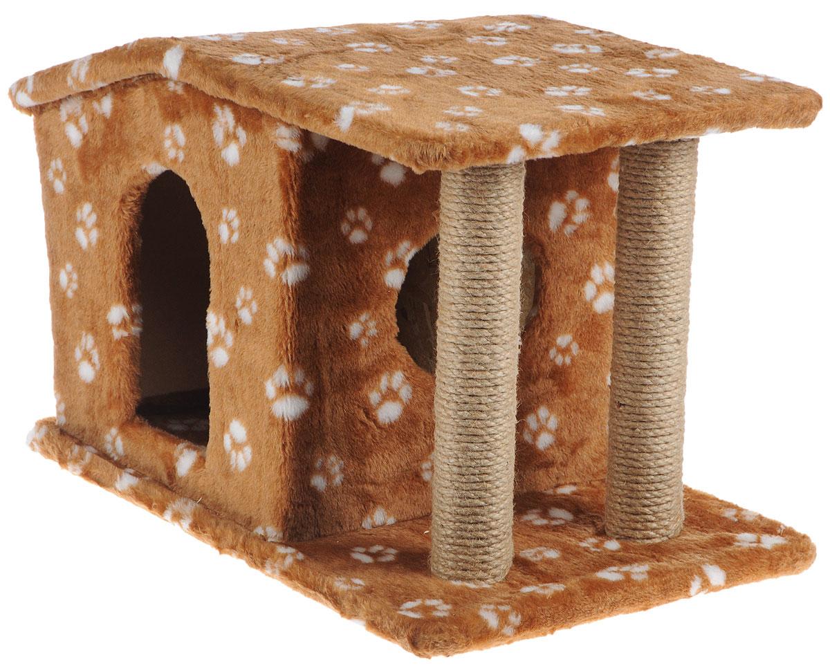 Игровой комплекс для кошек Меридиан  Патриция , с домиком и когтеточкой, цвет: темно-коричневый, белый, бежевый , 63 х 40 х 41 см - Когтеточки и игровые комплексы