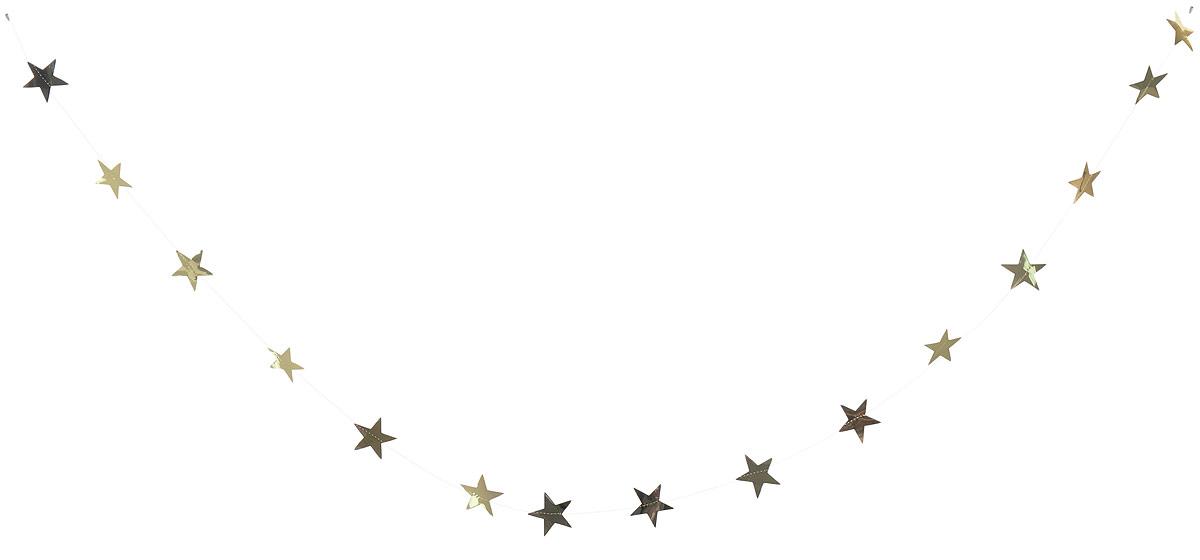 Гирлянда декоративная Winter Wings Звездочки, цвет: золотой, 8 см х 2,7 мN09163_золотойНовогодняя декоративная растяжка Winter Wings Звездочки прекрасно подойдет для декора дома и праздничной елки. Украшение выполнено из ПВХ. С помощью пластиковых колец растяжку можно повесить в любом понравившемся вам месте.Новогодние украшения несут в себе волшебство и красоту праздника. Они помогут вам украсить дом к предстоящим праздникам и оживить интерьер по вашему вкусу. Создайте в доме атмосферу тепла, веселья и радости, украшая его всей семьей.