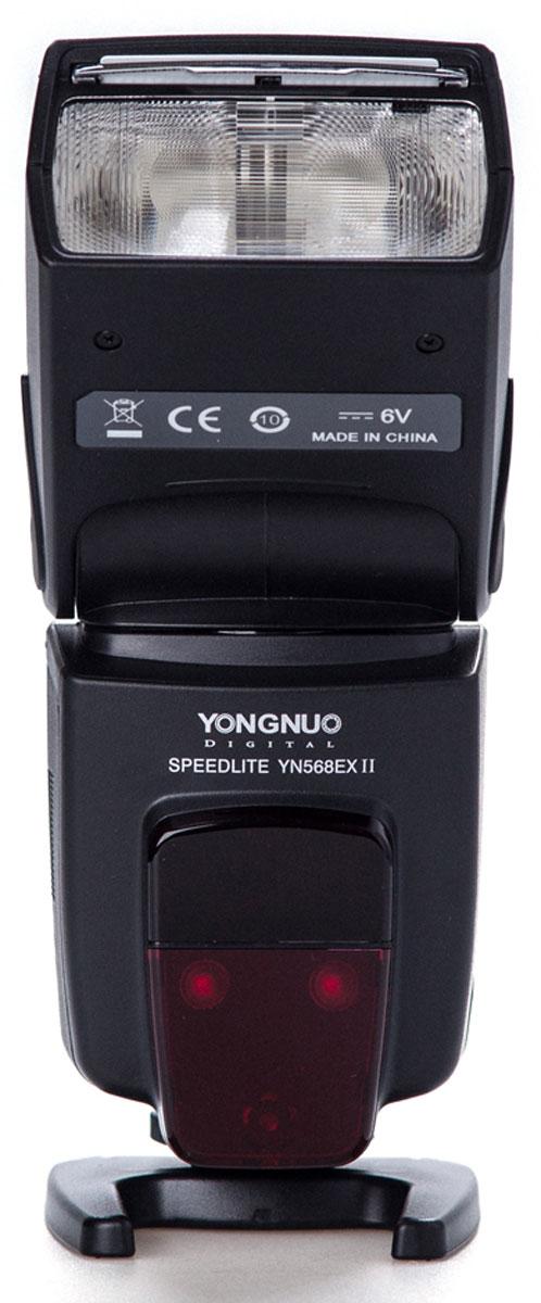 YongNuo Speedlite YN-568EXII вспышка для CanonYN-568EXIICЕсли появилось ощущение, что встроенной вспышки на зеркалке уже не хватает, значит пришла пора дляпокупки YongNuo Speedlite YN-568EX ll для Canon. Эта мощная и функциональная вспышка станет незаменимымпомощником при создании живого и естественного освещения на фотографиях. Ведущее число 58 при ISO говорит о высокой мощности и готовности справится с поставленными задачами, дажеесли объект съемки находится на значительном расстоянии и плохо освещен. В таких условиях не будет лишней иподсветка автофокуса, которая поможет фотоаппарату навестись на резкость, а выставить верные параметрыпоможет большой и четкий дисплей, также не лишенный полезной функции подсветки. Большое количество режимов работы открывает неограниченные возможности творить. Вспышка полностьюподдерживает E-TTL/E-TTL2. В ручном режиме ее мощность имеет очень точную настройку, а при использованииMaster Flash – поддерживает беспроводное TTL-управление другими вспышками. Стоит отметить высокоекачество материалов, из которых изготовлена YN-568EX II, детали которой отлично подогнаны друг к другу,добавим интуитивно понятное управление, отличную цену и, оказывается, у этого аксессуара просто нет слабыхсторон.