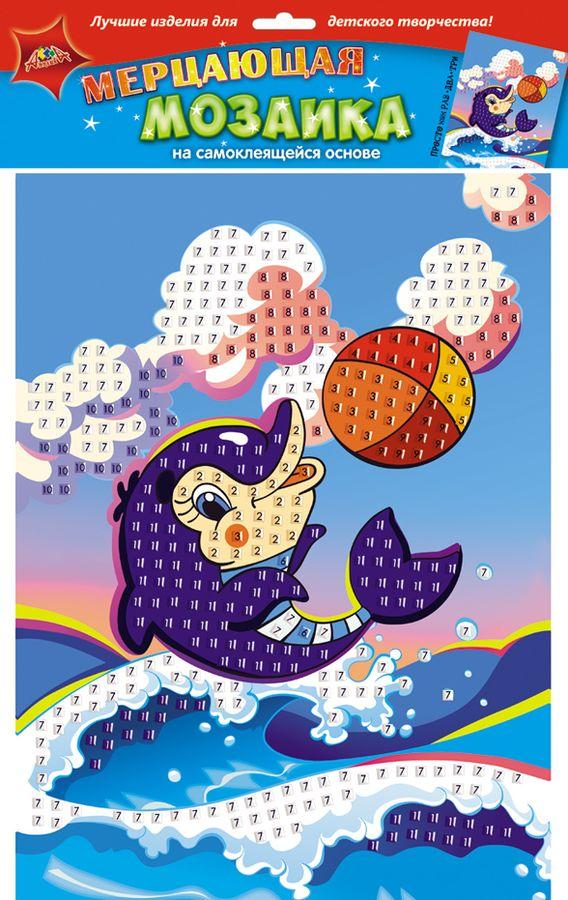 Апплика Мозаика на самоклеящейся основе Дельфин с мячом мозаика апплика мозаика гелевая а6 дельфин