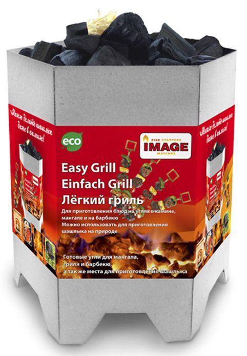 Easy Grill - это лёгкий розжиг для мангала, гриля или барбекю, используемый для приготовления различных блюд. Easy Grill ставится в мангал,  поджигается, а через 15-20 минут горения после полной готовности упаковка прогорает и рассыпается, после чего готовые угли можно  использовать. Состав: упаковка из картона, уголь, роллы для розжига, чиркаш, спички.