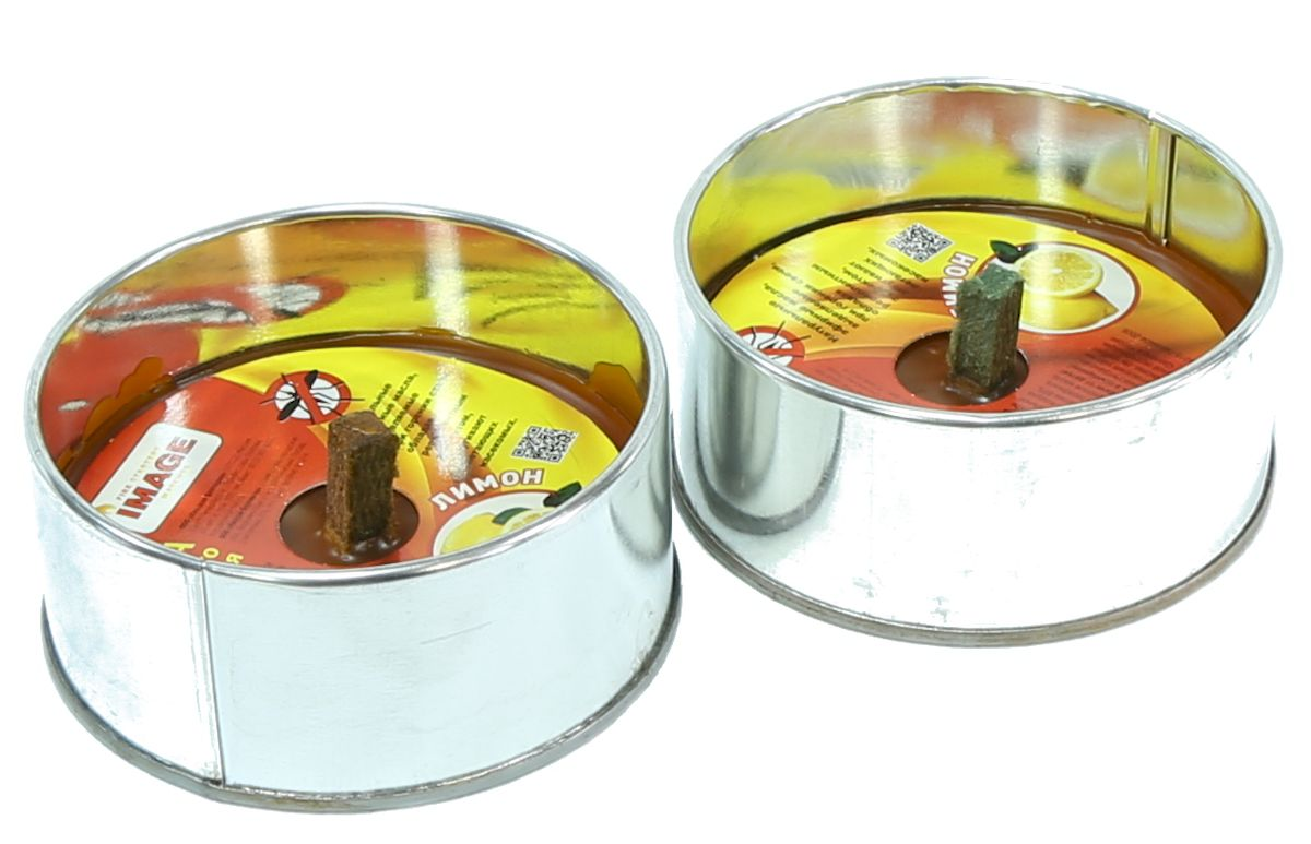 Свеча уличного освещения Image Лимон, антимоскитная, 2 шт40595-1Свеча уличного освещения Image Лимон используется для освещения и придания уютной обстановки на даче, на открытом воздухе, в походе, на пикниках, для освещения дорожек на участках или около палаток, в беседках или при отсутствии света. Применяется в виде освещения на открытом воздухе или помещении. Обладает эффектом для отпугивания комаров и мошек. Размер одной банки: 98 х 45 мм