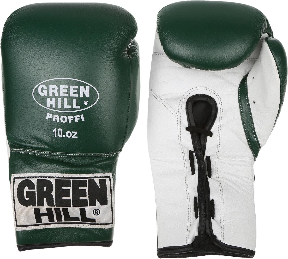 Перчатки боксерские Green Hill Proffi, цвет: зеленый, белый. Вес 10 унций. BGP-2014BGD-2050Боксерские перчатки Green Hill Proffi предназначены для использования профессионалами. Верх выполнен из натуральной кожи, наполнитель - из вспененного полимера. Отверстие в области ладони позволяет создать максимально комфортный терморежим во время занятий. Манжет на шнуровке способствует быстрому и удобному надеванию перчаток, плотно фиксирует перчатки на руке.