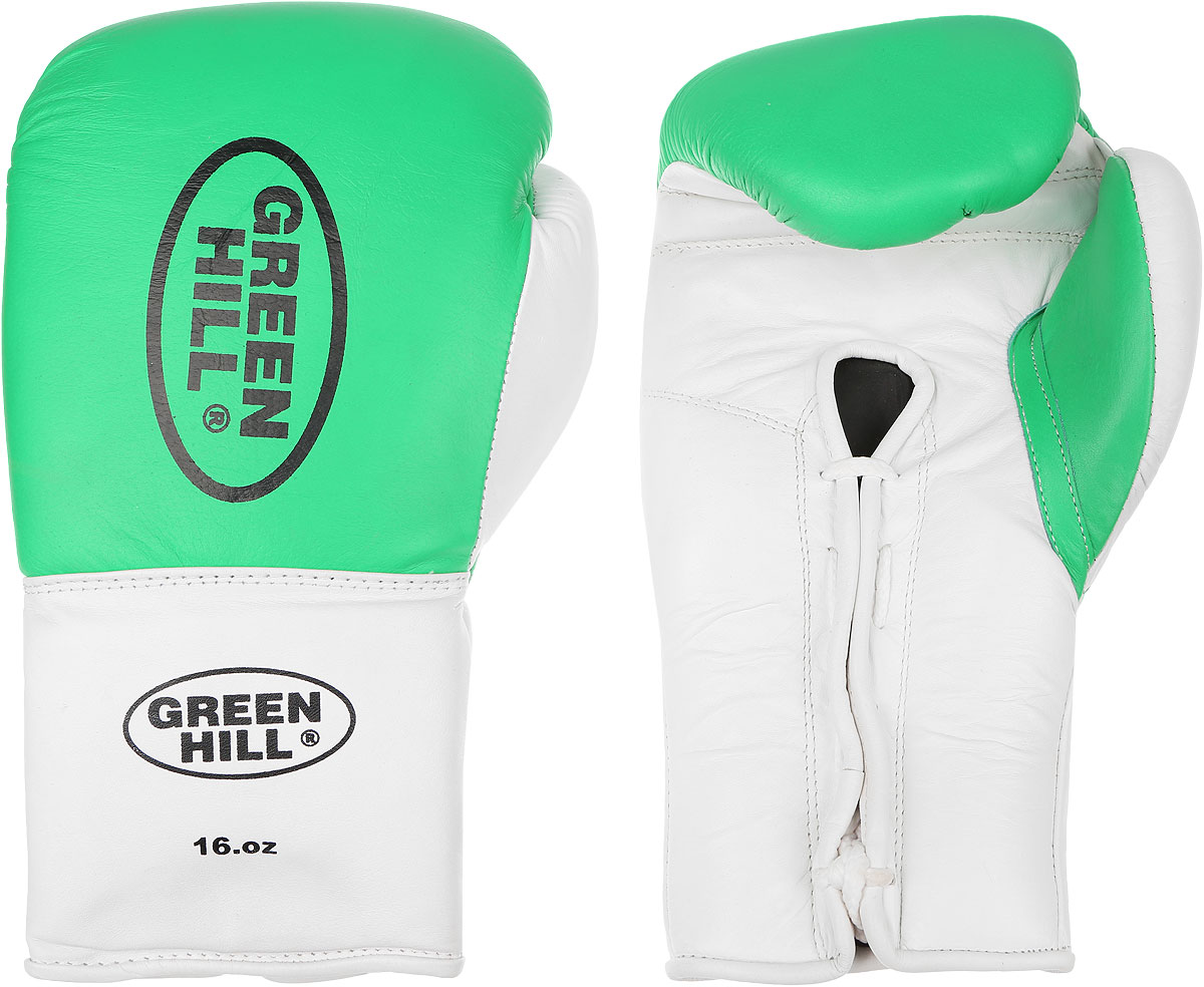 Перчатки боксерские Green Hill Proffi, цвет: зеленый, белый, черный. Вес 16 унций. BGP-2014BGD-2050Боксерские перчатки Green Hill Proffi предназначены для использования профессионалами. Верх выполнен из натуральной кожи, наполнитель - из вспененного полимера. Отверстие в области ладони позволяет создать максимально комфортный терморежим во время занятий. Манжет на шнуровке способствует быстрому и удобному надеванию перчаток, плотно фиксирует перчатки на руке.