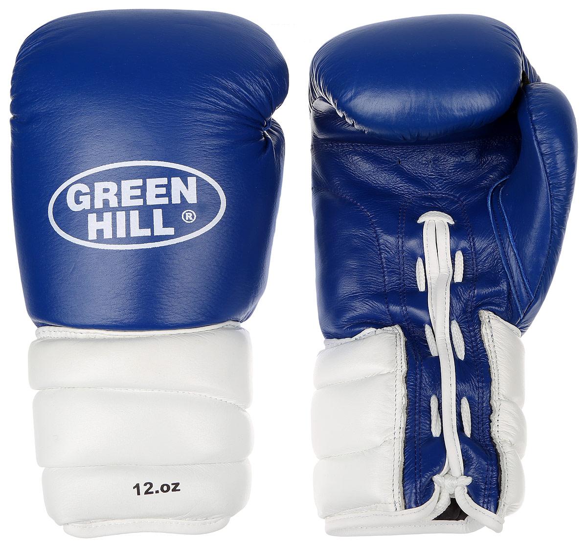 Перчатки боксерские Green Hill Pro Star, цвет: синий, белый. Вес 12 унций. BGPS-2012BGPS-2012Тренировочные боксерские перчатки Green Hill Pro Star отлично подойдут для спаррингов. Верх выполнен из натуральной кожи, наполнитель - из вспененного полимера. Отверстие в области ладони позволяет создать максимально комфортный терморежим во время занятий. Удлиненный сегментированный манжет способствует быстрому и удобному надеванию перчаток, плотно фиксирует их на руке.